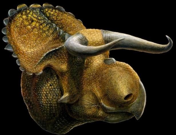 Concepção artística do Nasutoceratops titusi, uma nova espécie de dinossauro com chifres que foi descoberto em Utah, nos Estados Unidos