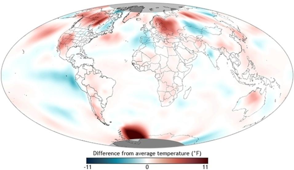 19.jul.2013 - 2013: O planeta teve o quinto junho mais quente já registrado na série história, segundo dados da Administração Nacional Oceânica e Atmosférica dos Estados Unidos, a NOAA. A temperatura média global de junho ficou em 16,14 graus Celsius, empatado com a de junho de 2006, o que representa 0,64ºC acima da média do século 20