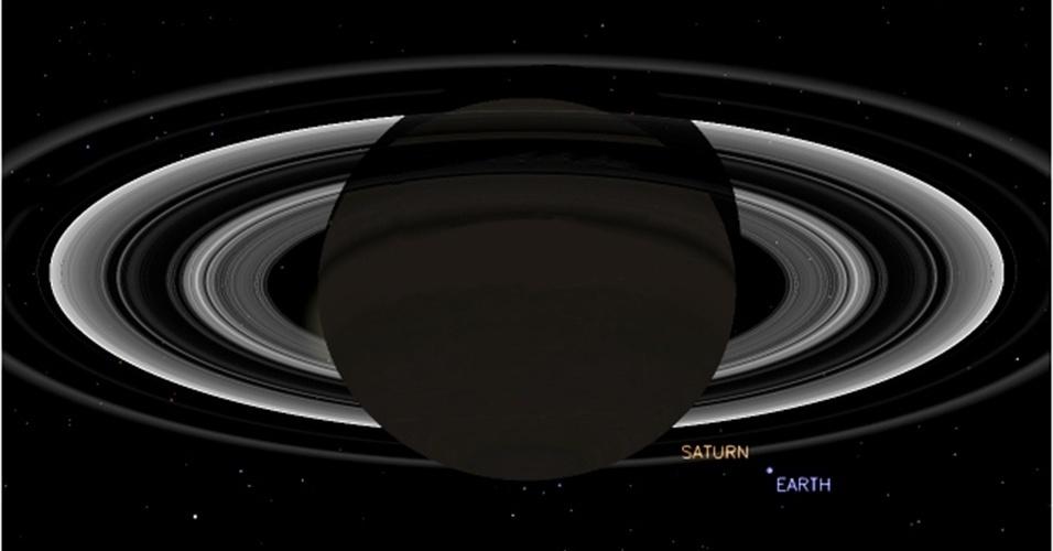 19.jul.2013 - A sonda espacial Cassini vai tirar uma foto simultânea de Saturno e da Terra nesta sexta-feira (19), entre 21h27 e 21h47 GMT (entre 18h27 e 18h47 no fuso de Brasília). A imagem será feita no momento em que Saturno será iluminado por trás pelo Sol para ajudar no estudo da forma dos anéis de poeira do planeta gigante, explica a Nasa (Agência Espacial Norte-Americana). A sonda estará cerca de 1,44 bilhão de quilômetros de distância da Terra, quase dez vezes o trajeto entre o Sol e o nosso planeta