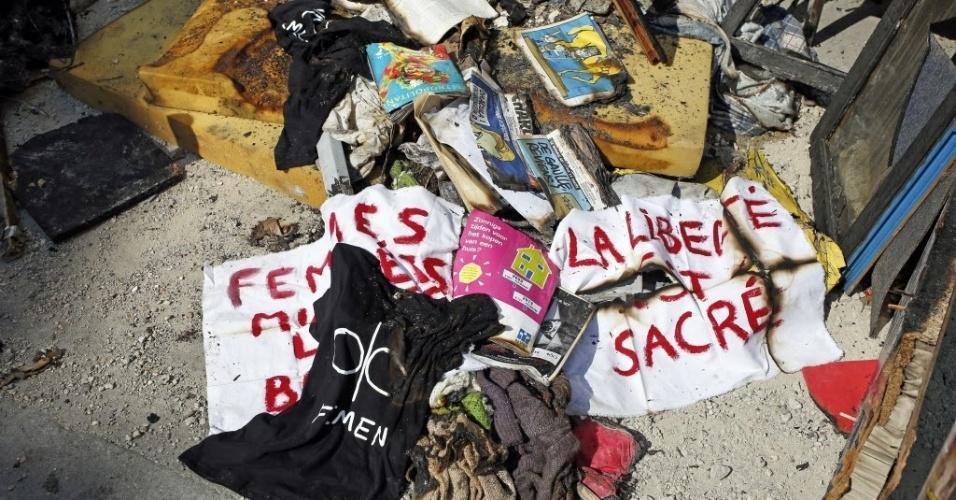 21.jul.2013 - O apartamento da ucraniana Inna Shevchenko, líder da filial francesa do Femen, pegou fogo neste domingo (21), em Paris. No local funcionava também o escritório do Femen na cidade