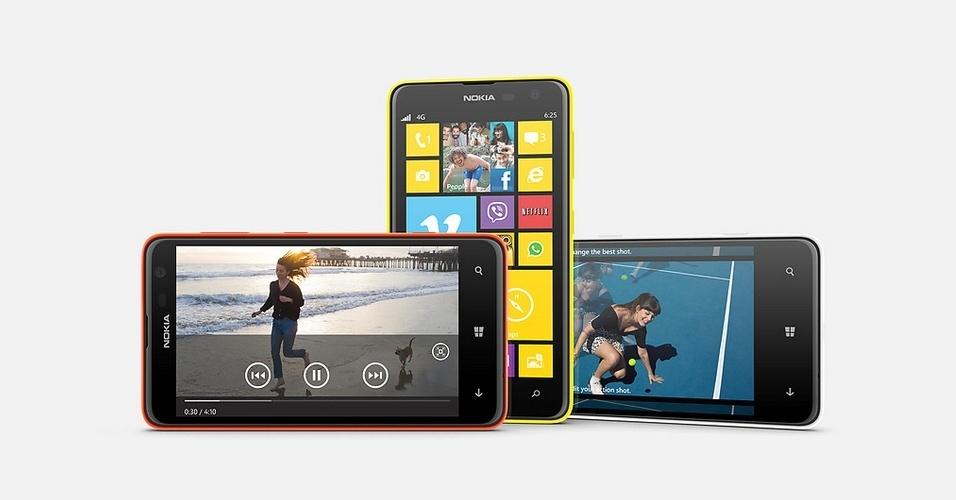 23.jul.2013 - A Nokia lançou o Lumia 625, smartphone com tela de 4,7 polegadas (800x480 pixels) e sistema Windows Phone. O celular usa processador Snapdragon S4 de 1,2 GHze 512 de RAM. Ele tem câmera de 5 megapixels e 8 GB para armazenamento (com suporte a microSD). O preço do aparelho ainda não foi revelado