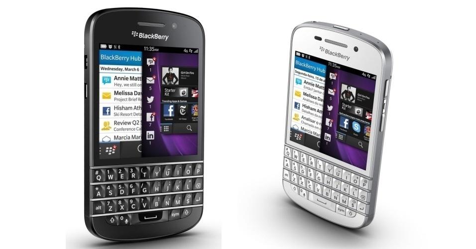 24.jul.2013 - O BlackBerry Q10, com sistema operacional BlackBerry 10, combina tela touchscreen com teclado físico QWERTY. Ele possui 16 GB de armazenamento interno, câmera traseira de 8 megapixels, gravação de vídeo em HD, tela de 3,1 polegadas, processador dual core de 1,5 GHz e tecnologia 4G habilitada