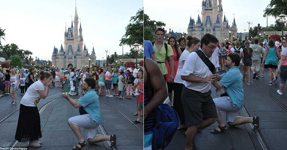 Nick Landis quis surpreender a namorada, Erika, ao pedi-la em casamento em frente ao castelo da Cinderela, na Disney. Mas a maior surpresa veio de um desconhecido (foto à direita), que ?invadiu? a foto e roubou a cena neste momento romântico ? pela cara, o homem percebeu o tamanho de seu erro. A foto tirada no dia 10 de julho de 2013 foi parar no site de compartilhamento Reddit e ganhou diversas muitas engraçadas, tornando-se um meme