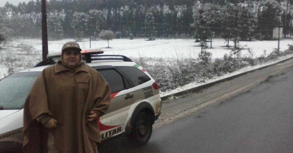 25.jul.2013 - Romildo Xavier enviou fotos da manhã após a nevasva em Canoinhas (SC)