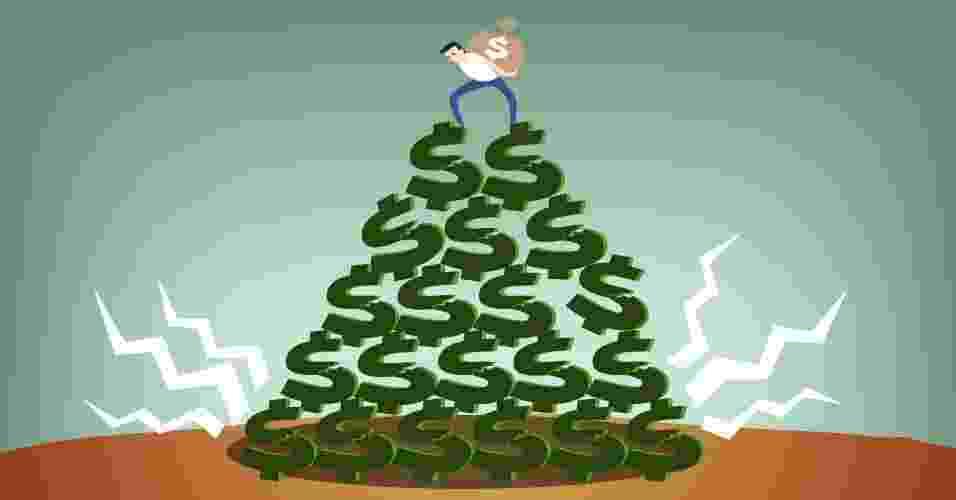Ilustração para chamadas e álbum sobre pirâmide financeira - Arte/UOL