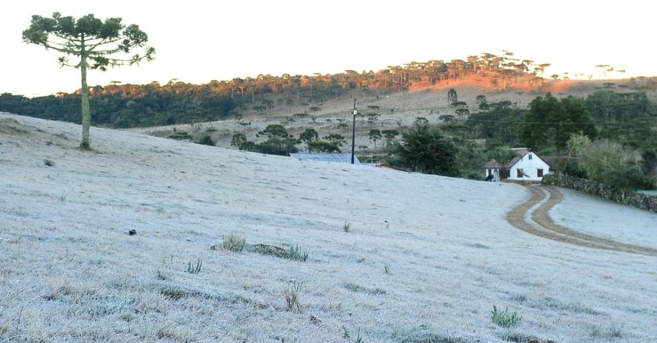 26.jul.2013 - A massa de ar polar se afastou do Sul, mas Painel (SC) ainda registrou formação de geada durante a madrugada. Ao amanhecer, uma fina camada de gelo cobria a cidade catarinense. A menor temperatura registrada no Estado foi em Urupema, com -4,9ºC, segundo a Agência RBS
