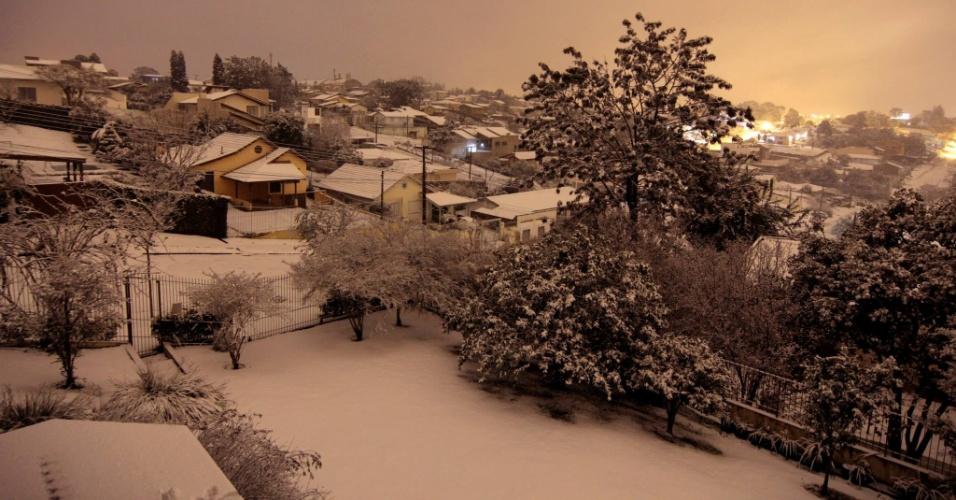 26.jul.2013 - Internauta Sharley Peron enviou imagens da neve em Canoinhas (SC)