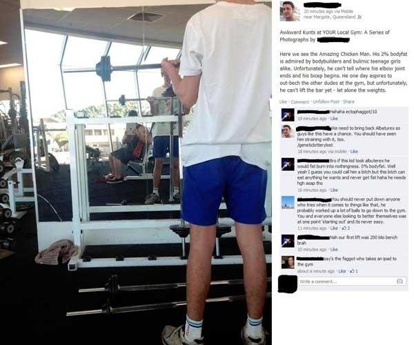 26.jul.2013 - Um australiano diz ter sido expulso da academia de ginástica onde treinava após publicar no Facebook uma foto e comentário sobre outro cliente do local. A imagem registrada com um iPad foi parar nos fóruns 4chan e Reddit