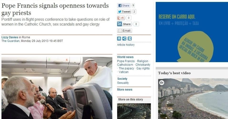 29.jul.2013 - Na edição desta segunda-feira (29), o jornal britânico The Guardian destacou que o papa Francisco estaria dando sinais de abertura da Igreja Católica para padres gays. Segundo o período, foi o dia em que