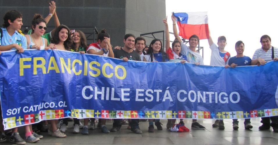 29.jul.2013 - Peregrinos chilenos marcam presença na Jornada Mundial da Juventude. O registro foi feito pelo internauta Sebastián Salinas Claro