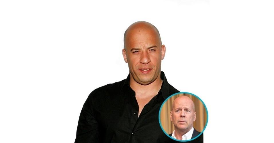 Na imagem, o ator Vin Diesel com o 'cabelo' do ator Bruce Willis. Vin Diesel ganhou o cabelo de diversas celebridades, tudo feito com a ajuda de editores de fotos