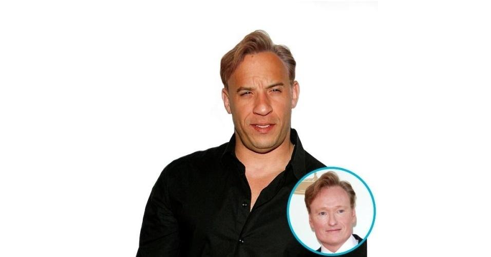 Na imagem, o ator Vin Diesel com o cabelo do comediante Conan O'Brien. Vin Diesel ganhou o cabelo de diversas celebridades, tudo feito com a ajuda de editores de fotos