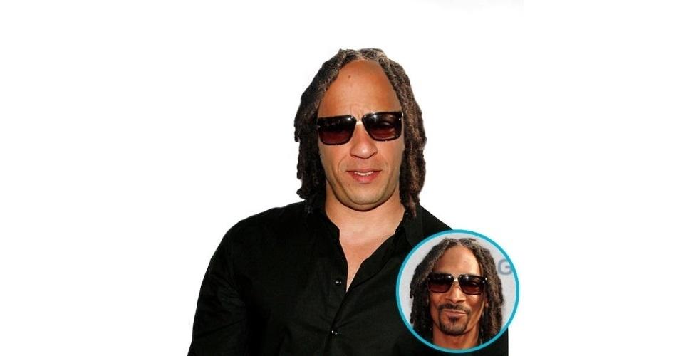 Na imagem, o ator Vin Diesel com o cabelo do rapper Snoop Dogg. Vin Diesel ganhou o cabelo de diversas celebridades, tudo feito com a ajuda de editores de fotos