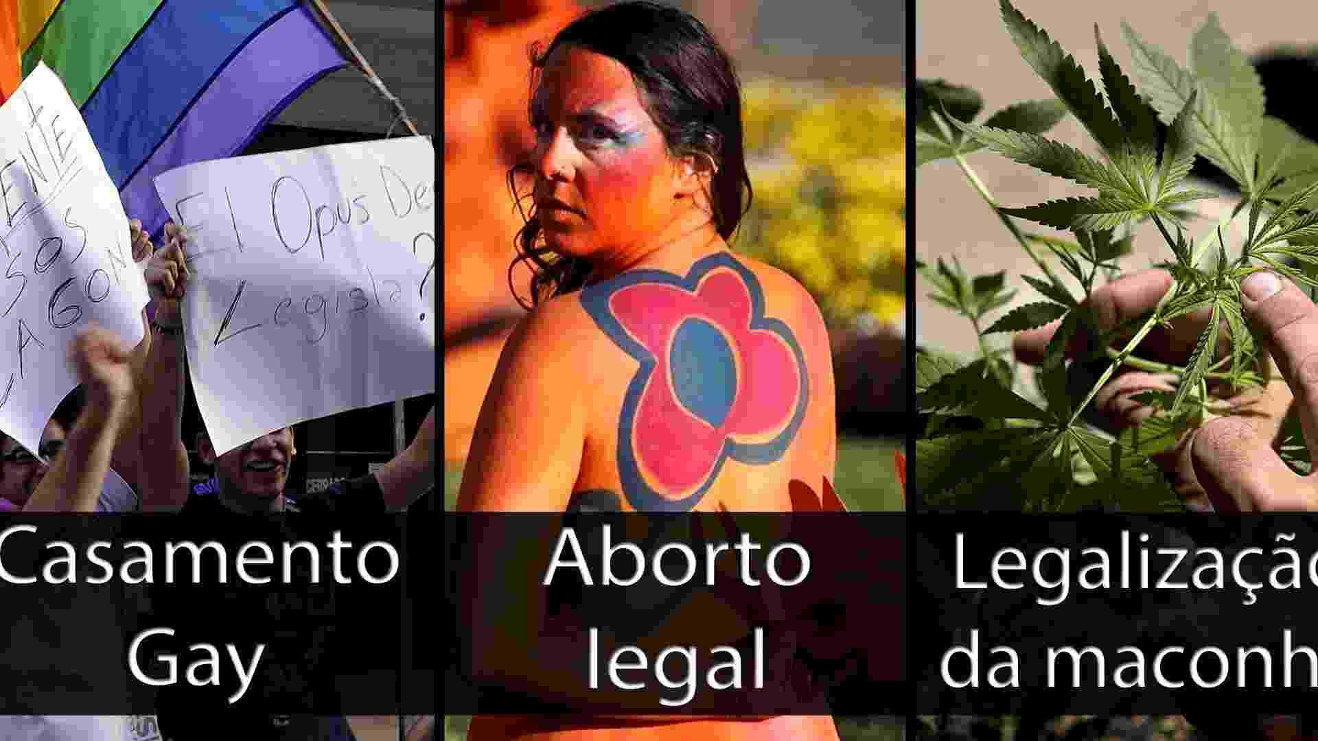 Capa do álbum de avanços uruguaios em temas polêmicos - Miguel Rojo/AFP, Matilde Campodonico/AP, Pablo Porciuncula/AFP/Arte UOL