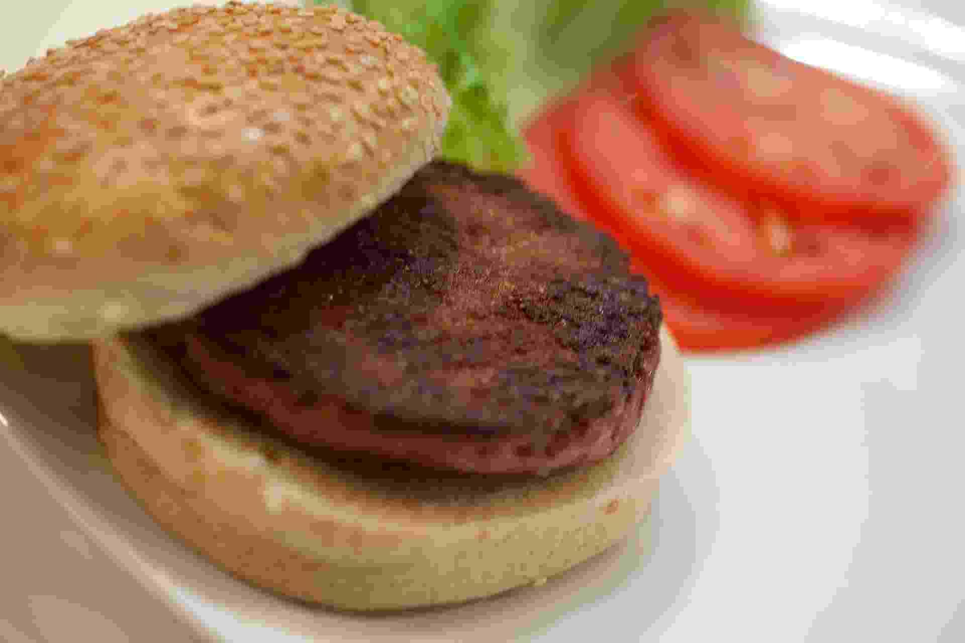 5.ago.2013 - O primeiro hambúrguer artificial usou cerca de 20 mil tiras de carne produzidas em laboratório a partir de células-tronco bovinas. Elas foram descongeladas antes de serem transformadas em uma massa compacta para ser cozida - David Parry/Reuters