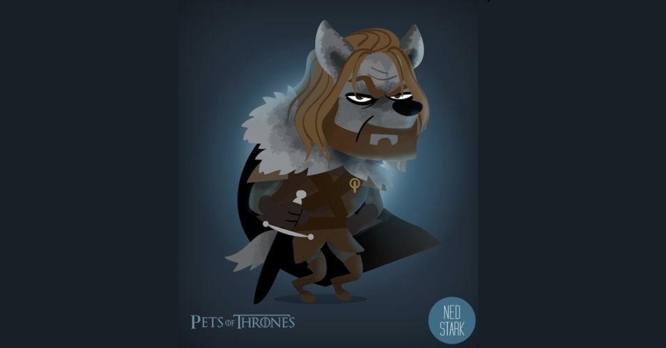 Na imagem, Ned Stark virou um lobo. O designer Mario Flores combinou os personagens da série 'Game of Thrones' com o animal que representa cada família