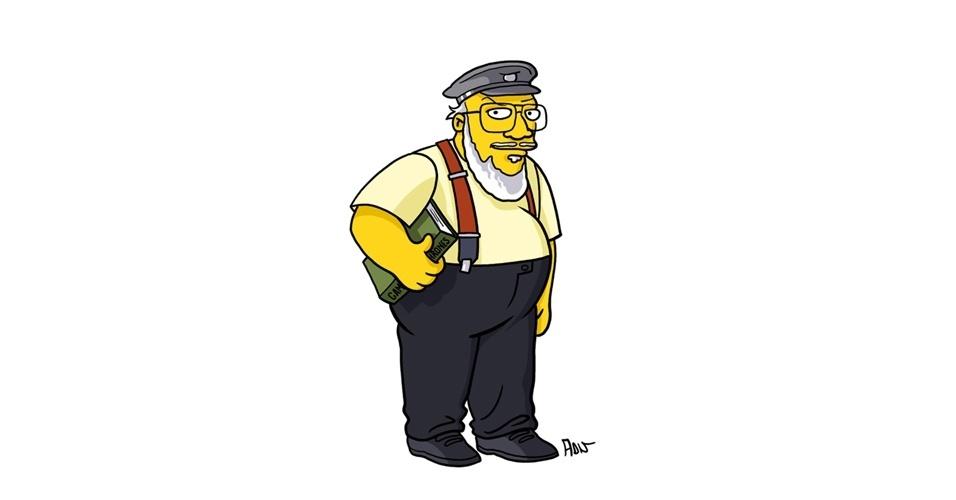 Na imagem, o artista Adrien Noterdaem deixou o escritor da série George Martin com o estilo 'Simpsons' de ser. Os personagens da serie 'Game of Thrones' ficaram tão populares que ganharam diversas versões na internet
