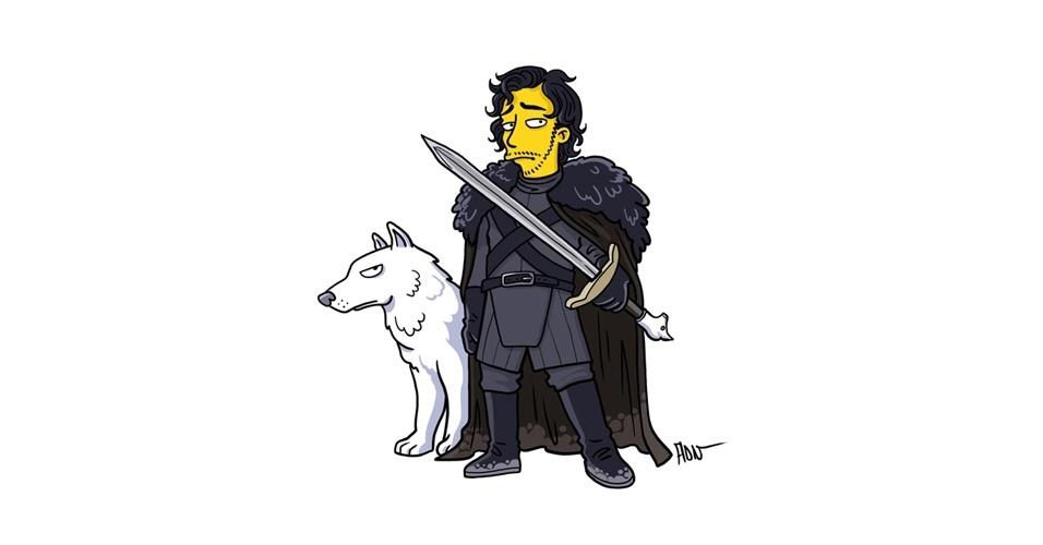 Na imagem, o artista Adrien Noterdaem deixou o personagem Jon Snow com o estilo 'Simpsons' de ser. Os personagens da serie 'Game of Thrones' ficaram tão populares que ganharam diversas versões na internet