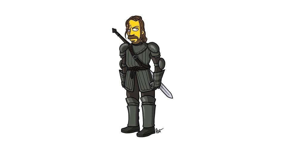 Na imagem, o artista Adrien Noterdaem deixou o personagem Sandor Clegane com o estilo 'Simpsons' de ser. Os personagens da serie 'Game of Thrones' ficaram tão populares que ganharam diversas versões na internet