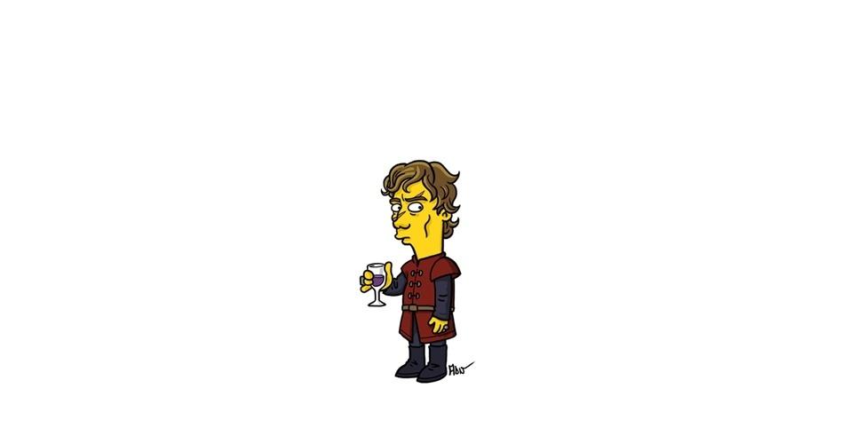 Na imagem, o artista Adrien Noterdaem deixou o personagem Tyrion Lannister com o estilo 'Simpsons' de ser. Os personagens da serie 'Game of Thrones' ficaram tão populares que ganharam diversas versões na internet