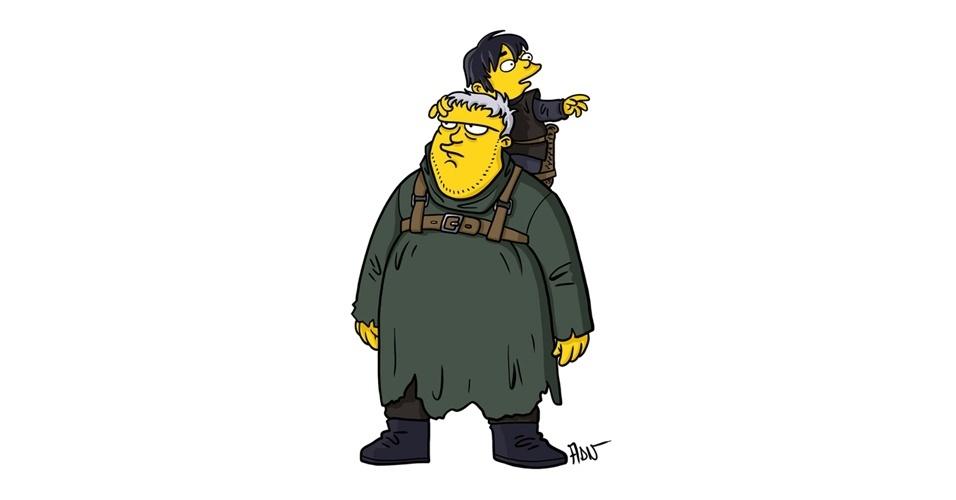Na imagem, o artista Adrien Noterdaem deixou os personagens Hodor e Bran Stark com o estilo 'Simpsons' de ser. Os personagens da serie 'Game of Thrones' ficaram tão populares que ganharam diversas versões na internet