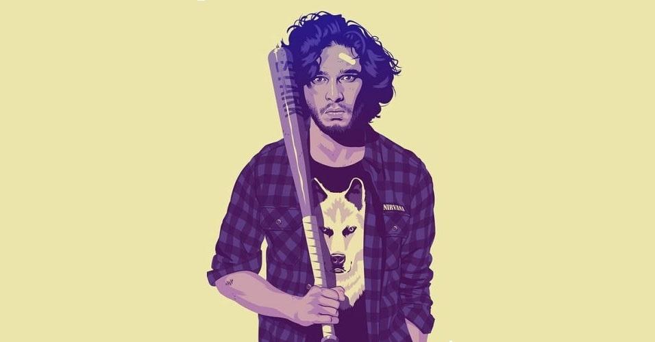Na imagem, o personagem Jon Snow. Nas mãos do artista Mike Wrobel, os personagens de 'Game of Thrones' ganharam o jeitão dos anos 1980 e 1990