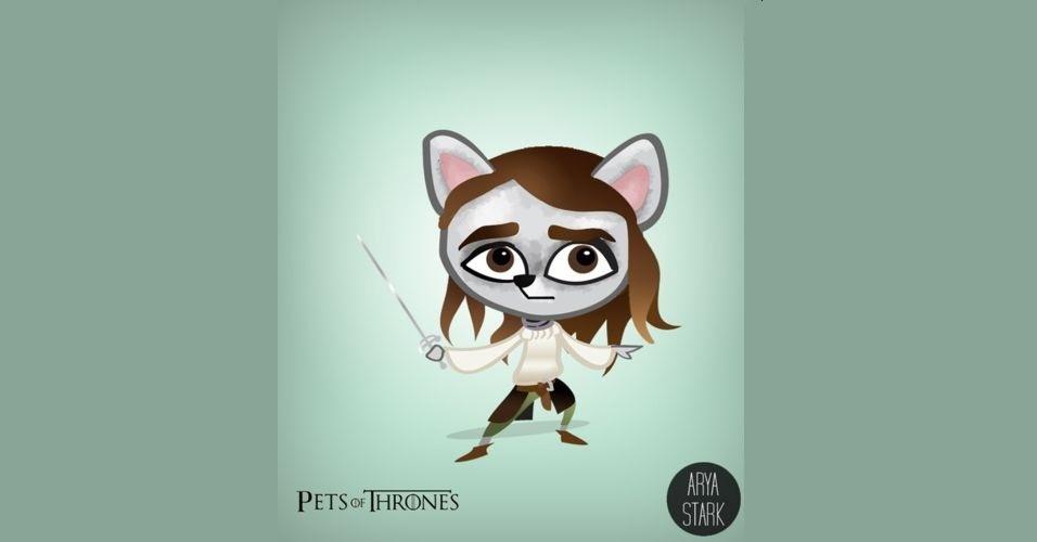 O designer Mario Flores combinou os personagens da série 'Game of Thrones' com o animal que representa cada família, como lobos, leões, cavalos e até dragões. O resultado é que os próprios personagens se transformaram em bichos. Na imagem, Arya Stark virou um lobo