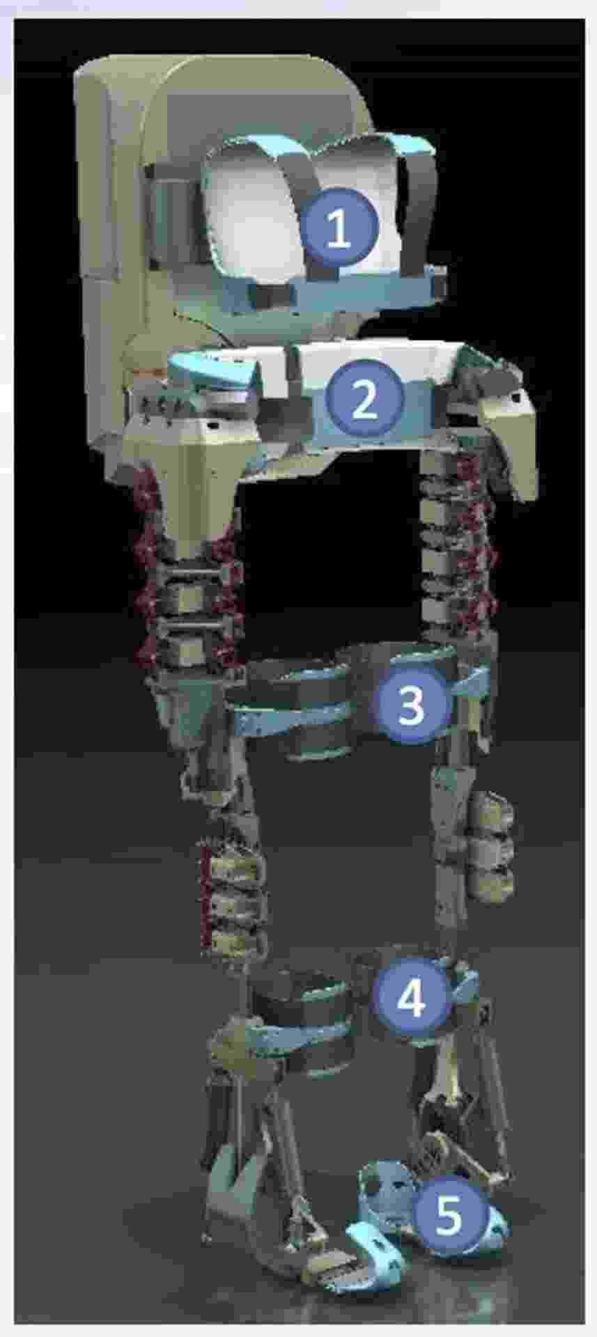 """6.ago.2013 - O neurocientista Miguel Nicolelis divulgou imagem de como será o exoesqueleto usado por um jovem paraplégico para dar o pontapé inicial na abertura da Copa do Mundo de 2014. """"Imagem mostra os cinco módulos do exoesqueleto e o seu backpack [mochila] de controle"""", escreveu o brasileiro em sua página no Facebook. O equipamento faz parte do Projeto Andar de Novo (""""Walk Again Project""""), que reúne cientistas do Brasil, da França, da Suíça, da Alemanha e dos Estados Unidos - Reprodução/Facebook"""