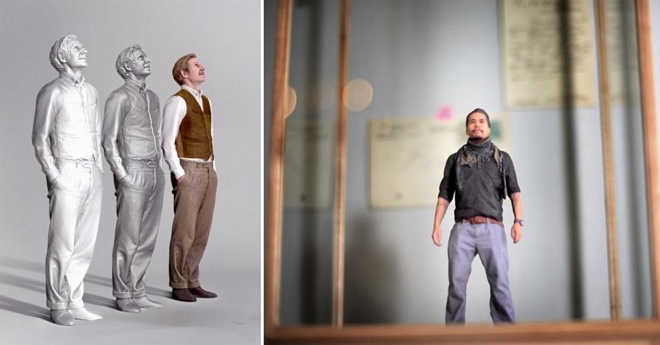 7.ago.2013 - A empresa alemã Twinkind lançou um serviço para a criação de miniaturas a partir de modelos reais, que a empresa chama de ''as fotografias do futuro''. Ou seja, quem quiser pode ter um bonequinho de si mesmo com cerca de 15 cm de altura. Mas também terá de desembolsar ao menos 225 libras (R$ 800) pela pequena obra de arte. Primeiro, a empresa escaneia o corpo da pessoa, depois faz os ajustes necessários à imagem capturada e, por último, usa tecnologia de impressão 3D para produzir a miniatura