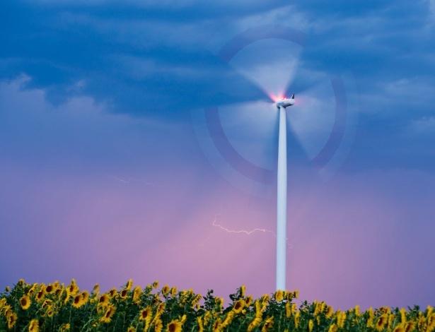 8.ago.2013 - Relâmpago ilumina céu sobre plantação de girassóis, com turbina de vento geradora de energia, em campo próximo a Sieversdorf, na Alemanha, nesta quinta-feira (8)