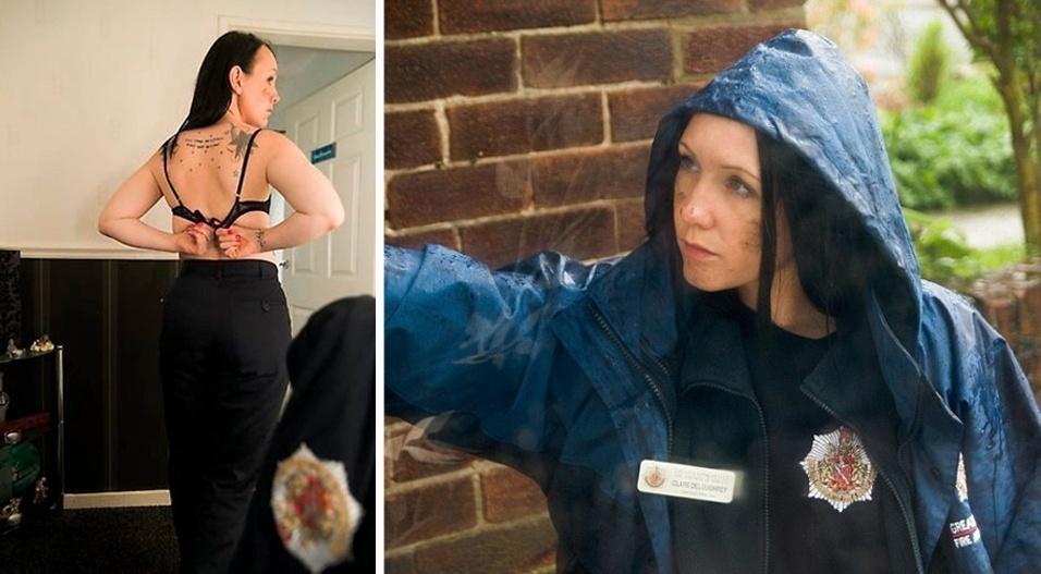12.ago.2013 - Clare Deloughrey, 26, que trabalhava como voluntária no Departamento de Bombeiros de Whitefield, na Grande Manchester (Reino Unido), foi dispensada depois de aparecer online em fotos sensuais vestindo a farda do grupamento. Segundo o ''Daily Mail'', Claire, cuja profissão é de modelo, alega que a chefia foi sexista ao dispensá-la, já que bombeiros do sexo masculino já posaram em fotos sensuais em outras ocasiões e não foram punidos