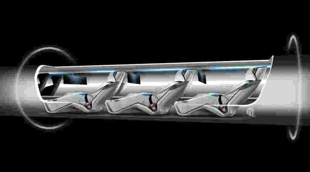 """13.ago.2013 - Esboço do """"Hyperloop"""", um sistema de transporte projetado para funcionar com energia solar e alcançar velocidade de até 1.200 quilômetros por hora. O projeto é de autoria do empreendedor bilionário Elon Musk. Em um documento publicado na internet, o """"Hyperloop"""" é descrito como uma cápsula que flutuaria levando passageiros através de um grande tubo de aço - Divulgação"""