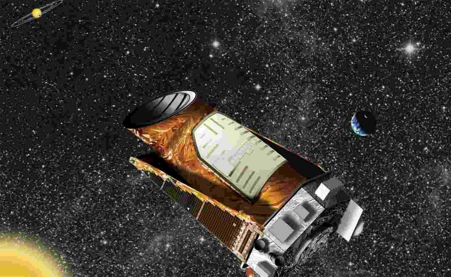 15.ago.2013 - A Nasa (Agência Espacial Norte-Americana) desistiu de consertar o Kepler, telescópio espacial que caça planetas fora do Sistema Solar, depois que uma falha técnica obrigou o equipamento a 'estacionar' a 64 milhões de quilômetros de distância, em maio passado. Duas de suas quatro 'rodas' pifaram e prejudicaram sua estabilização, instrumentos necessários para que o telescópio aponte para uma direção no espaço - Nasa