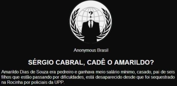 """Invasão hacker ao site do PMDB nacional: """"Sérgio Cabral, cadê o Amarildo?"""", questiona grupo Anonymous - Reprodução/Site do PMDB"""