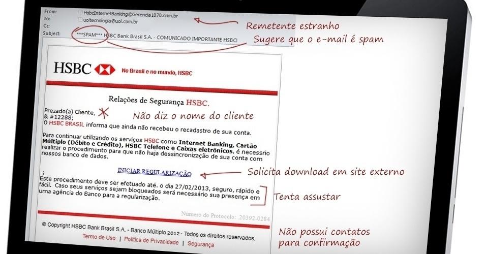 Características como remetentes estranhos, ameaças de cobranças, falta de contatos e erros de português podem mostrar que a mensagem é falsa. Clique em 'Mais' para ver outras dicas de segurança