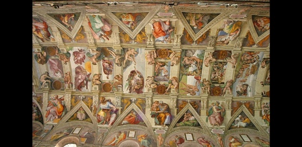 Teto da Capela Sistina, no Vaticano, pintado por Michelangelo - Reprodução
