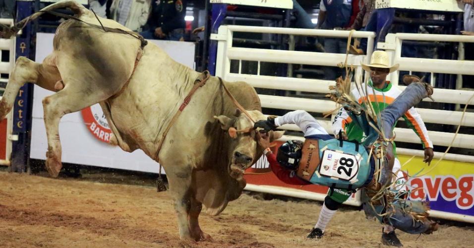 17.ago.2013 - Peão é derrubado de touro em montaria durante prova da Festa do Peão de Barretos, no interior de São Paulo