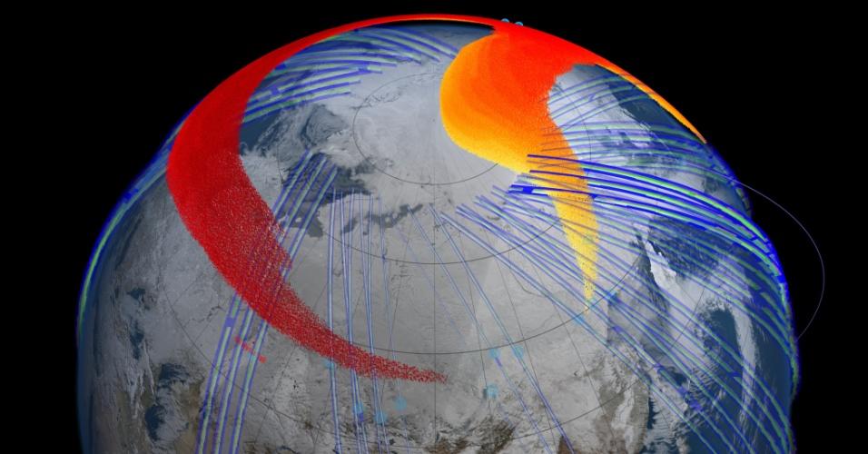21.ago.2013 - Dados de satélite da Nasa (Agência Espacial Norte-Americana) mostram que em 19 de fevereiro, quatro dias após um meteoro explodir sobre o céu da cidade russa Tchelyabinsk, uma densa nuvem de poeira (vermelho) dá uma volta completa no hemisfério Norte. Composta por centenas de toneladas de partículas, a nuvem encobriu essa região do planeta por até três meses, revela novo estudo da Nasa (Agência Espacial Norte-Americana)