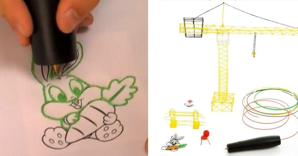 22.ago.2013 - A Swiss Pen 3D Print é uma caneta que promete transformar um fio de plástico em tinta, de forma que o usuário possa desenhar em cima de linhas para formar um objeto, como no coelho acima (à esquerda). O produto, que foi financiado por iniciativa popular, pode ser encomendado por 102 francos suíços (cerca de R$ 270)
