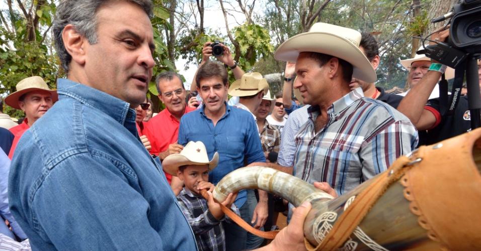 24.ago.2013 - O presidente do PSDB, senador Aécio Neves (MG), participou neste sábado da tradicional festa da Queima do Alho, na 58ª edição da Festa do Peão de Barretos (SP).
