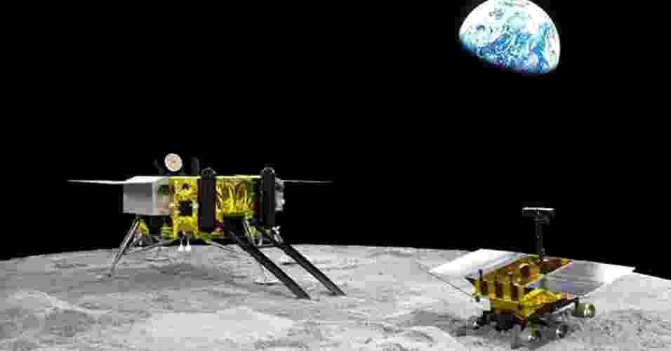 28.ago.2013 - A Agência Espacial Chinesa anunciou nesta quarta-feira (28) que a missão Chang'e-3 deverá ser lançada até o fim do ano, provavelmente no começo de dezembro, para explorar a Lua. As etapas de elaboração e construção da sonda e do jipe-robô já acabaram, mas os cientistas não divulgaram informações sobre o pouso na superfície lunar. Outras duas sondas orbitais com o mesmo já tinham sido lançadas pela Agência, em 2007 e em 2010 - CASC/Divulgação