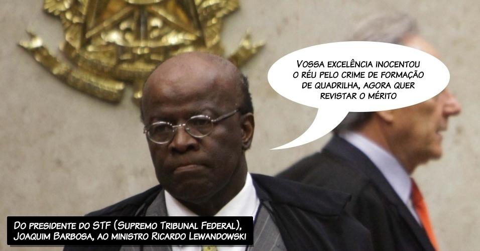28.ago.2013 - O presidente do STF (Supremo Tribunal Federal), ministro Joaquim Barbosa, questiona o ministro Ricardo Lewandowski, durante a sessão desta quarta-feira do julgamento dos recursos dos réus do mensalão