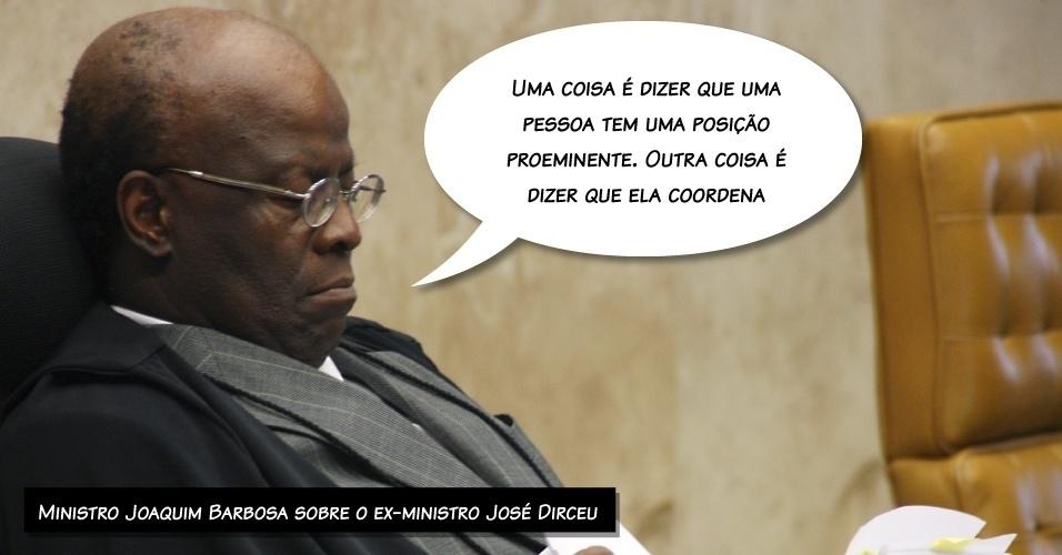 29.ago.2013 - A frase foi dita pelo presidente do STF (Supremo Tribunal Federal), Joaquim Barbosa, nesta quinta-feira (29), durante julgamento dos embargos de declaração do ex-ministro José Dirceu. No julgamento do ano passado, a maioria dos ministros considerou Dirceu o mandante do mensalão
