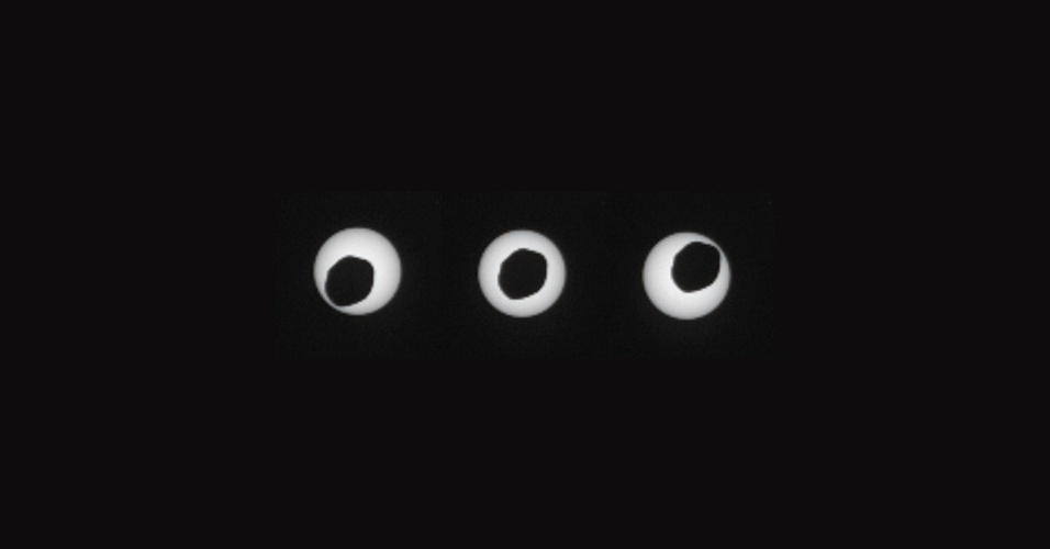 29.ago.2013 - Curiosity fez uma sequência da Phobos, a segunda maior lua de Marte, passando em frente ao Sol. As imagens do eclipse foram feitas com três segundos de diferença cada no 369 dia da missão do robô, que corresponde ao último dia 17 de agosto na Terra. O Curiosity fez uma pausa na sua viagem rumo ao Monte Sharp para registrar esse fenômeno que pode ajudar os cientistas a entenderem melhor sobre a órbita dos satélites dos planetas, informa a Nasa (Agência Espacial Norte-Americana)