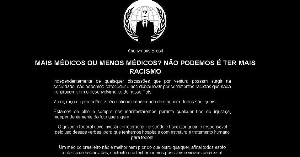 29.ago.2013 - Mensagem deixada pelo grupo Anonymous Brasil após invadir site do Sindicato dos Médicos do Ceará