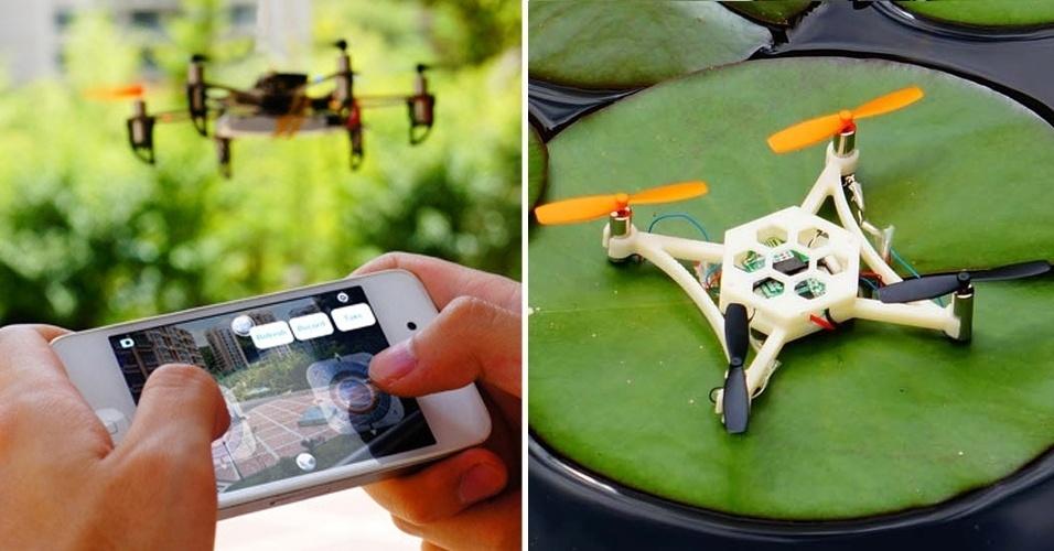 29.ago.2013 - O Hex é um drone feito a partir de impressão 3D que pode ser controlado remotamente a partir de um smartphone. A ideia de seus criadores é kits com peças separadas e permitir que o usuário escolha o formato do mini-helicóptero para ser impresso pela Hex. Ele é compatível com Arduíno, Bluetooth e usa código aberto. O projeto já conseguiu financiamento coletivo de US$ 118 mil (R$ 279 mil); os kits custam a partir de R$ 49 (116)