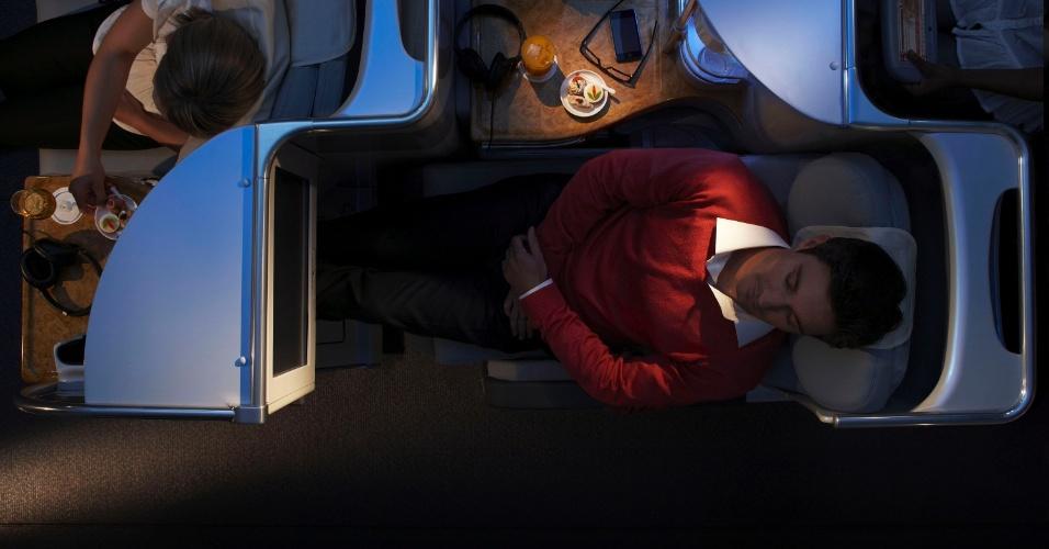 Aspecto da classe executiva da Emirates