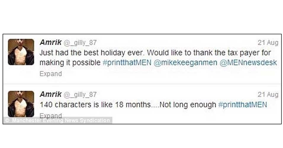 30.ago.2013 - Amrik Gill, 26, não foi preso por causa das redes sociais, mas causou revolta ao usar essa ferramenta para falar sobre o tempo em que esteve detido. Gill (de Manchester, Reino Unido) ficou preso de janeiro a agosto por fraudes relacionadas à venda de ingressos. Ao sair, ele postou: ''Foram as melhores férias da minha vida. Gostaria de agradecer ao contribuinte por tornar isso possível''. Quando questionado o post, diz o ''Daily Mail'', ele afirmou só estava sendo sarcástico. O post foi removido