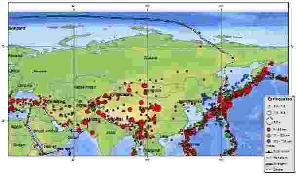 30.ago.2013 - Em 4 de novembro de 1952, um abalo de magnitude 9,0 na península de Kamchatka, extremo leste da Rússia, gerou ondas gigantes que chegaram até o Havaí, causando prejuízos financeiros de até US$ 1 milhão, mas nenhuma vítima fatal. O mapa mostra terremotos ao redor da Rússia desde 1900 - Wikimedia Commons