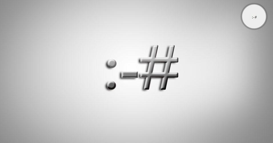 Na imagem, o emoticon :-# é uma pessoa carrancuda/cética. O site 'Text Meanings' funciona como um dicionário de emoticons. O usuário digita o rostinho e a página traz o significado